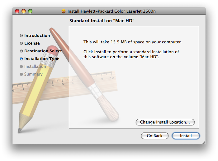 HP Color LaserJet 2600n MacOS Installation