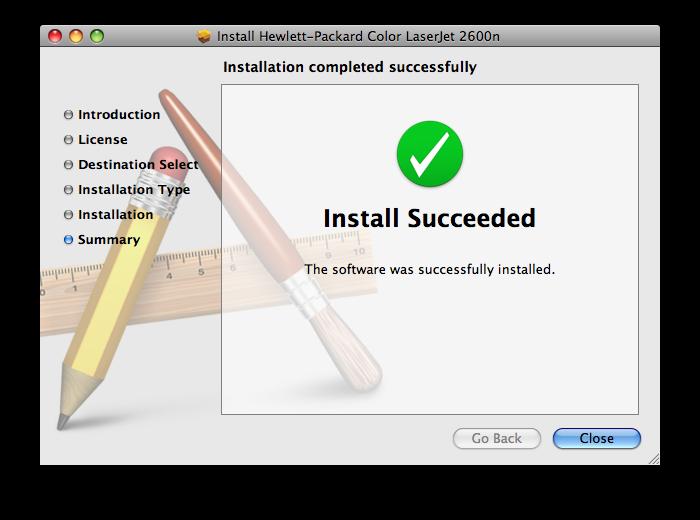 HP Color LaserJet 2600n MacOS Installation Final Step